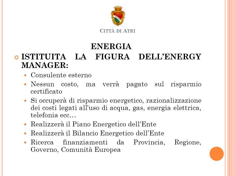 ENERGIA ISTITUITA LA FIGURA DELLENERGY MANAGER: Consulente esterno Nessun costo, ma verrà pagato sul risparmio certificato Si occuperà di risparmio en