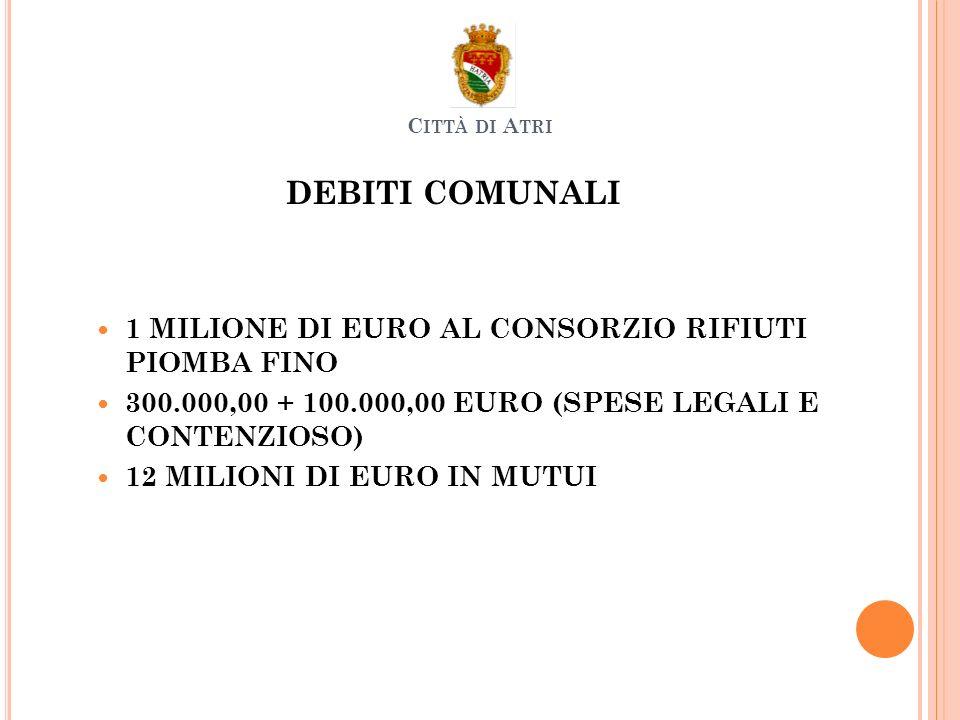 DEBITI COMUNALI 1 MILIONE DI EURO AL CONSORZIO RIFIUTI PIOMBA FINO 300.000,00 + 100.000,00 EURO (SPESE LEGALI E CONTENZIOSO) 12 MILIONI DI EURO IN MUTUI C ITTÀ DI A TRI