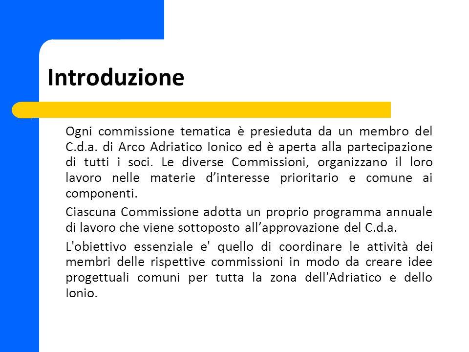 Introduzione Ogni commissione tematica è presieduta da un membro del C.d.a. di Arco Adriatico Ionico ed è aperta alla partecipazione di tutti i soci.