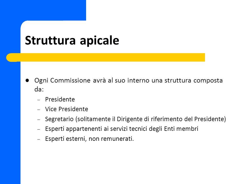 Struttura apicale Ogni Commissione avrà al suo interno una struttura composta da: – Presidente – Vice Presidente – Segretario (solitamente il Dirigent