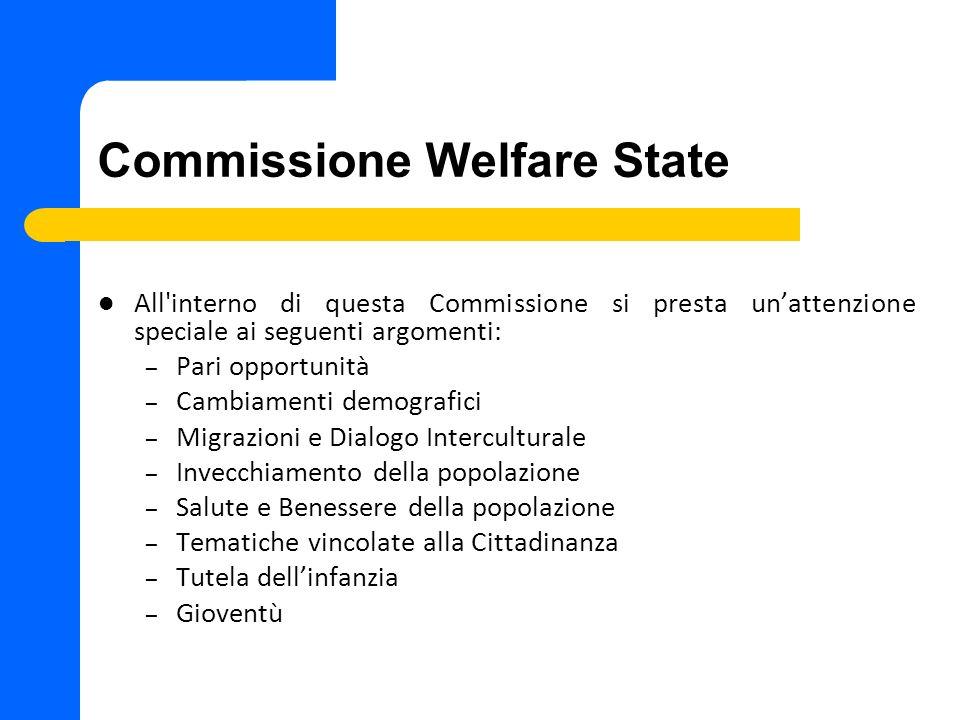 Commissione Welfare State All'interno di questa Commissione si presta unattenzione speciale ai seguenti argomenti: – Pari opportunità – Cambiamenti de