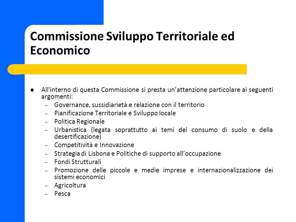 Commissione Sviluppo Territoriale ed Economico All'interno di questa Commissione si presta unattenzione particolare ai seguenti argomenti: – Governanc