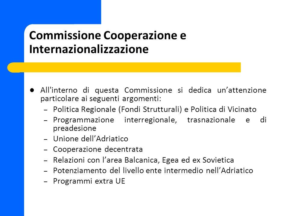 Commissione Cooperazione e Internazionalizzazione All'interno di questa Commissione si dedica unattenzione particolare ai seguenti argomenti: – Politi
