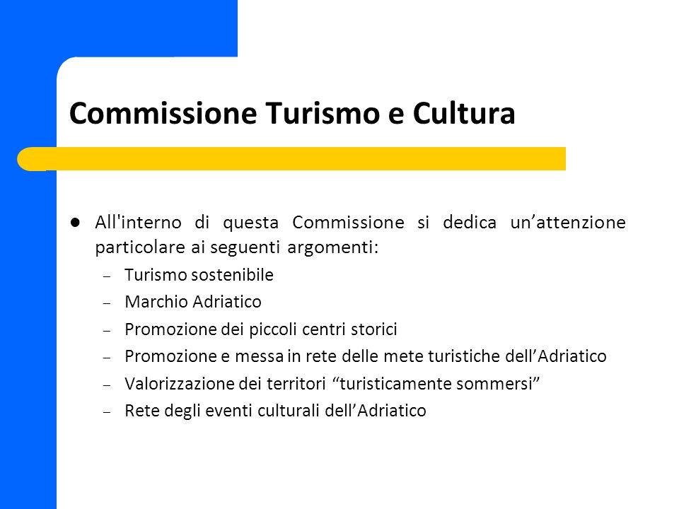 Commissione Infrastrutture All interno di questa Commissione si dedica unattenzione particolare ai seguenti argomenti: – Rete dei trasporti: Aereo, Treno, Nave, Gomma – Corridoio Adriatico – Grandi opere – Sviluppo sostenibile