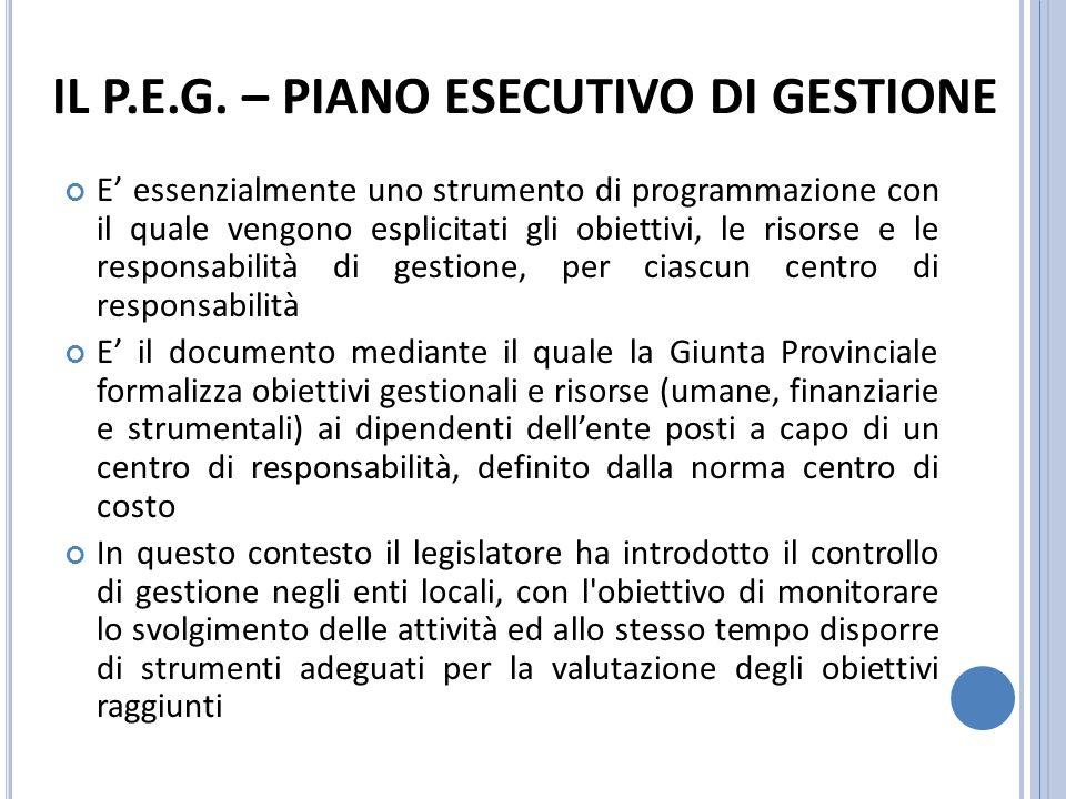 FINALITA DEL P.E.G.1. Attuare una adeguata organizzazione dellEnte 2.