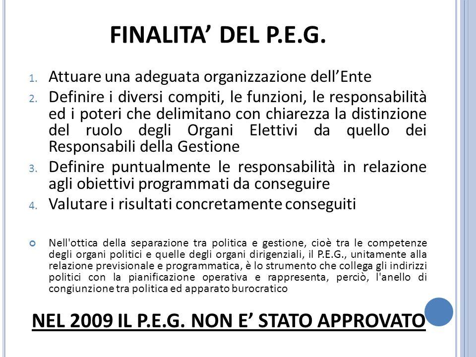FINALITA DEL P.E.G. 1. Attuare una adeguata organizzazione dellEnte 2.