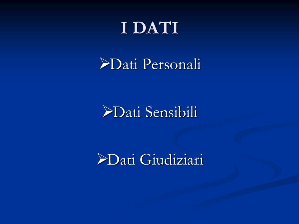 I DATI Dati Personali Dati Personali Dati Sensibili Dati Sensibili Dati Giudiziari Dati Giudiziari