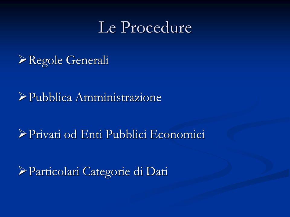 Le Procedure Regole Generali Regole Generali Pubblica Amministrazione Pubblica Amministrazione Privati od Enti Pubblici Economici Privati od Enti Pubb