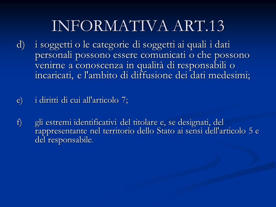 INFORMATIVA ART.13 d)i soggetti o le categorie di soggetti ai quali i dati personali possono essere comunicati o che possono venirne a conoscenza in q