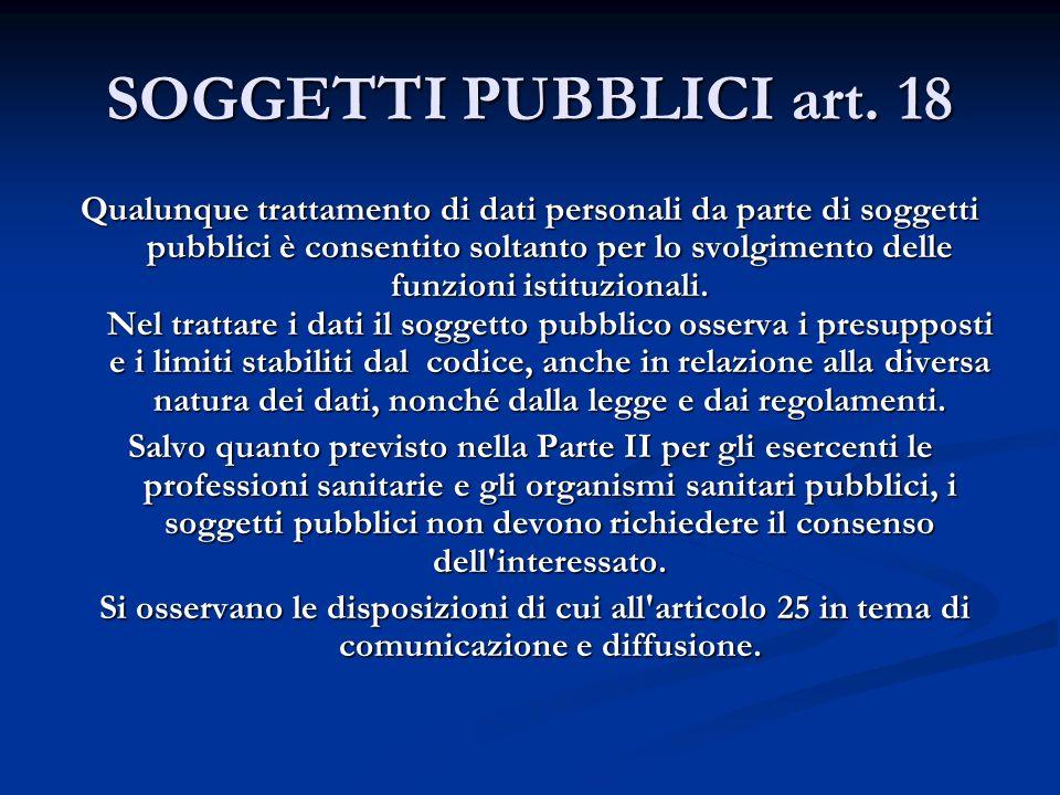 SOGGETTI PUBBLICI art. 18 Qualunque trattamento di dati personali da parte di soggetti pubblici è consentito soltanto per lo svolgimento delle funzion
