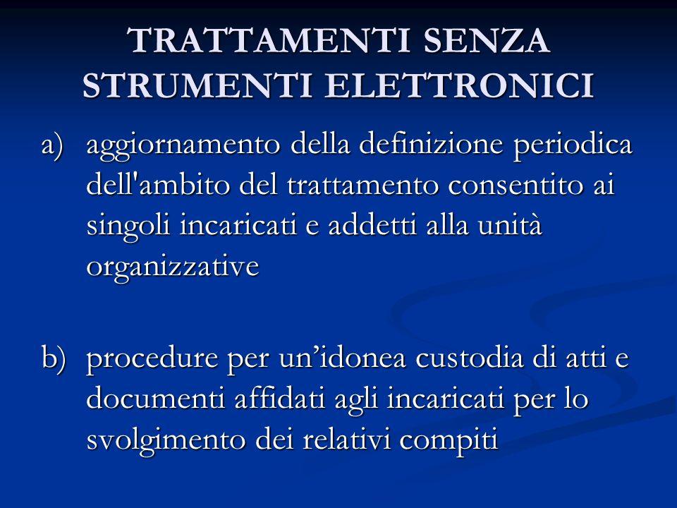 TRATTAMENTI SENZA STRUMENTI ELETTRONICI a)aggiornamento della definizione periodica dell'ambito del trattamento consentito ai singoli incaricati e add