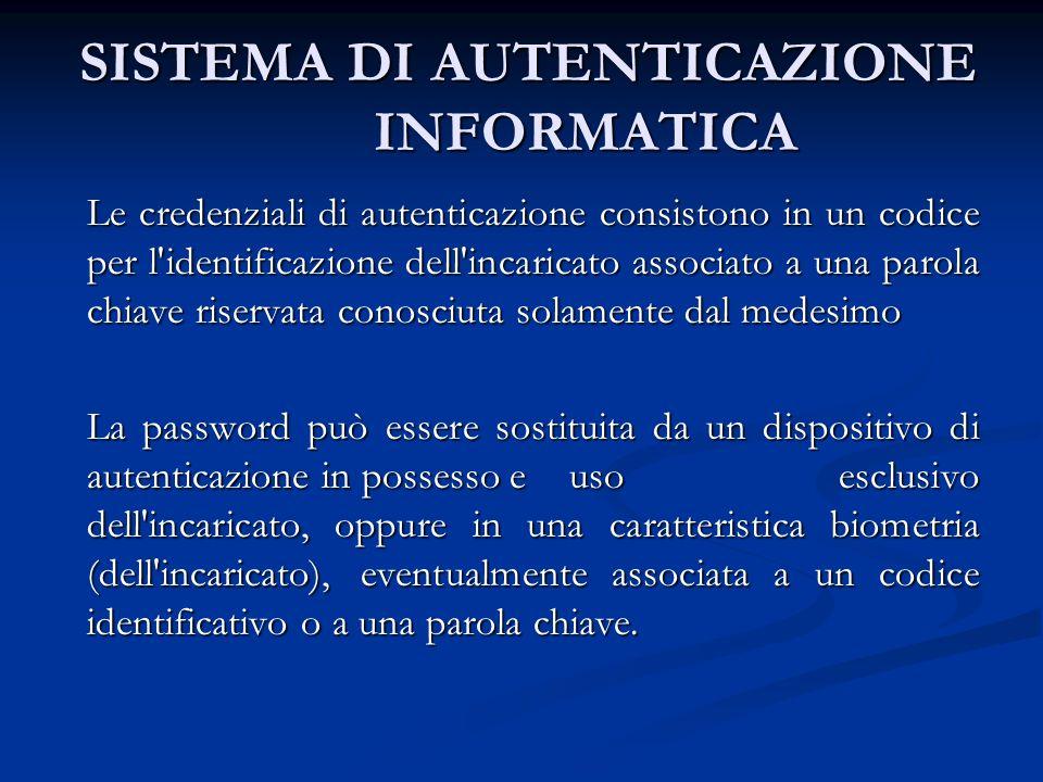 SISTEMA DI AUTENTICAZIONE INFORMATICA SISTEMA DI AUTENTICAZIONE INFORMATICA Le credenziali di autenticazione consistono in un codice per l'identificaz