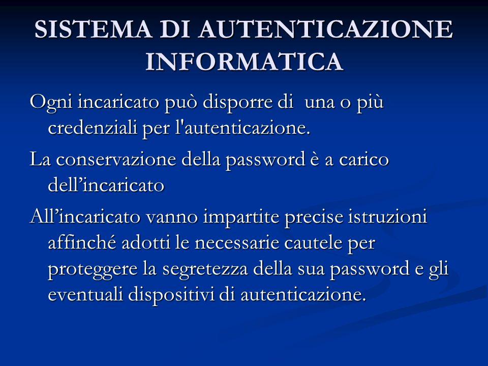 SISTEMA DI AUTENTICAZIONE INFORMATICA Ogni incaricato può disporre di una o più credenziali per l'autenticazione. La conservazione della password è a