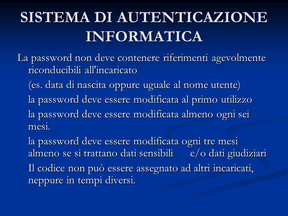 SISTEMA DI AUTENTICAZIONE INFORMATICA La password non deve contenere riferimenti agevolmente riconducibili all'incaricato (es. data di nascita oppure