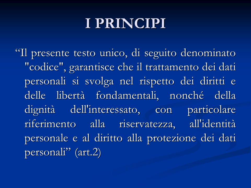 I PRINCIPI Il trattamento dei dati personali e effettuato assicurando un elevato livello di tutela dei diritti e delle libertà […] nel rispetto dei principi di SEMPLIFICAZIONE, ARMONIZZAZIONE ed EFFICACIA delle modalità previste per il loro esercizio da parte degli interessati, nonché per l adempimento degli obblighi da parte dei titolari del trattamento Il trattamento dei dati personali e effettuato assicurando un elevato livello di tutela dei diritti e delle libertà […] nel rispetto dei principi di SEMPLIFICAZIONE, ARMONIZZAZIONE ed EFFICACIA delle modalità previste per il loro esercizio da parte degli interessati, nonché per l adempimento degli obblighi da parte dei titolari del trattamento