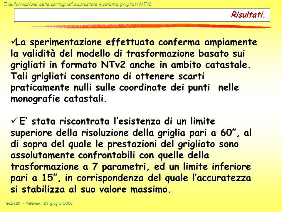 Trasformazione della cartografia catastale mediante grigliati NTv2 GISe20 – Palermo, 23 giugno 2010 La sperimentazione effettuata conferma ampiamente