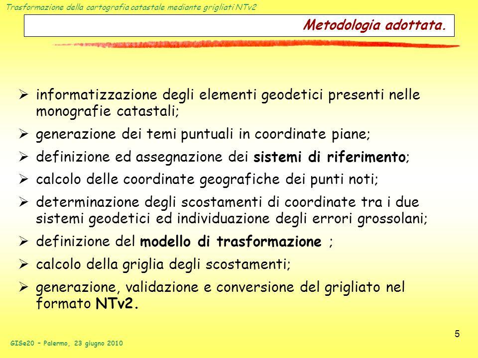 Trasformazione della cartografia catastale mediante grigliati NTv2 GISe20 – Palermo, 23 giugno 2010 5 Metodologia adottata. informatizzazione degli el