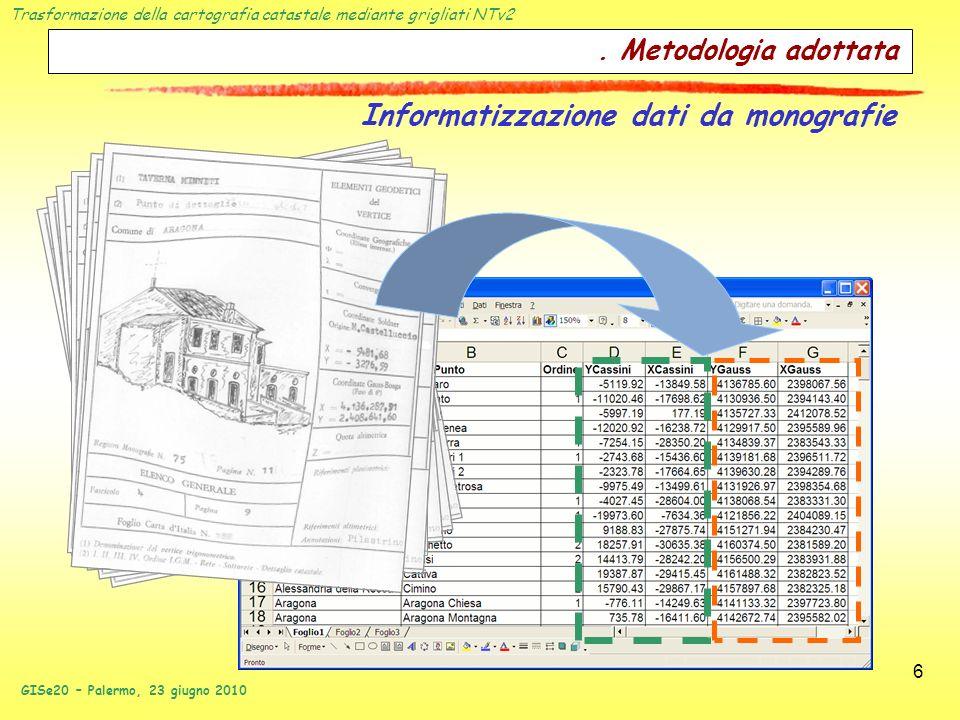 Trasformazione della cartografia catastale mediante grigliati NTv2 GISe20 – Palermo, 23 giugno 2010 6. Metodologia adottata Informatizzazione dati da