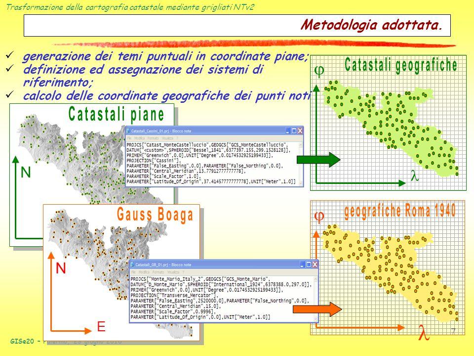 Trasformazione della cartografia catastale mediante grigliati NTv2 GISe20 – Palermo, 23 giugno 2010 7 Metodologia adottata. E N E N generazione dei te