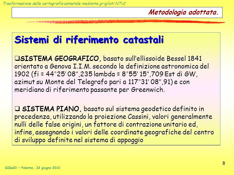 Trasformazione della cartografia catastale mediante grigliati NTv2 GISe20 – Palermo, 23 giugno 2010 8 Metodologia adottata. Sistemi di riferimento cat