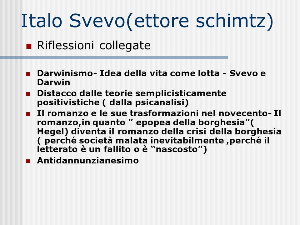Italo Svevo(ettore schimtz) Riflessioni collegate Darwinismo- Idea della vita come lotta - Svevo e Darwin Distacco dalle teorie semplicisticamente pos
