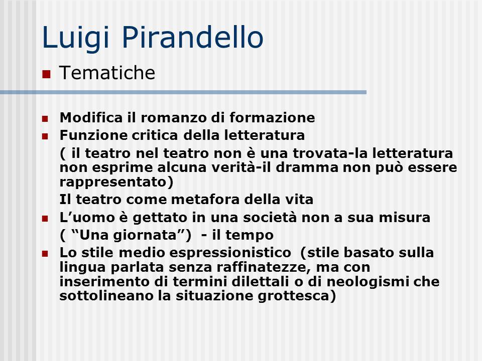 Luigi Pirandello Tematiche Modifica il romanzo di formazione Funzione critica della letteratura ( il teatro nel teatro non è una trovata-la letteratur