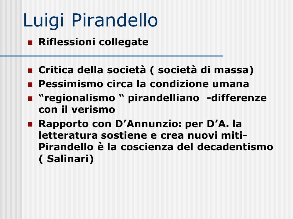 Luigi Pirandello Riflessioni collegate Critica della società ( società di massa) Pessimismo circa la condizione umana regionalismo pirandelliano -diff