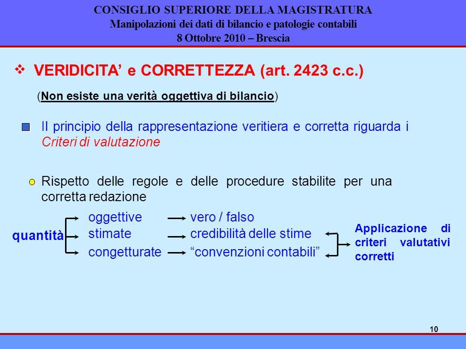 CONSIGLIO SUPERIORE DELLA MAGISTRATURA Manipolazioni dei dati di bilancio e patologie contabili 8 Ottobre 2010 – Brescia VERIDICITA e CORRETTEZZA (art