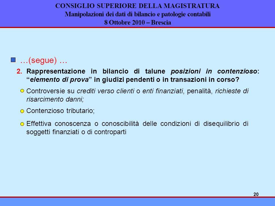 CONSIGLIO SUPERIORE DELLA MAGISTRATURA Manipolazioni dei dati di bilancio e patologie contabili 8 Ottobre 2010 – Brescia …(segue) … 2.Rappresentazione