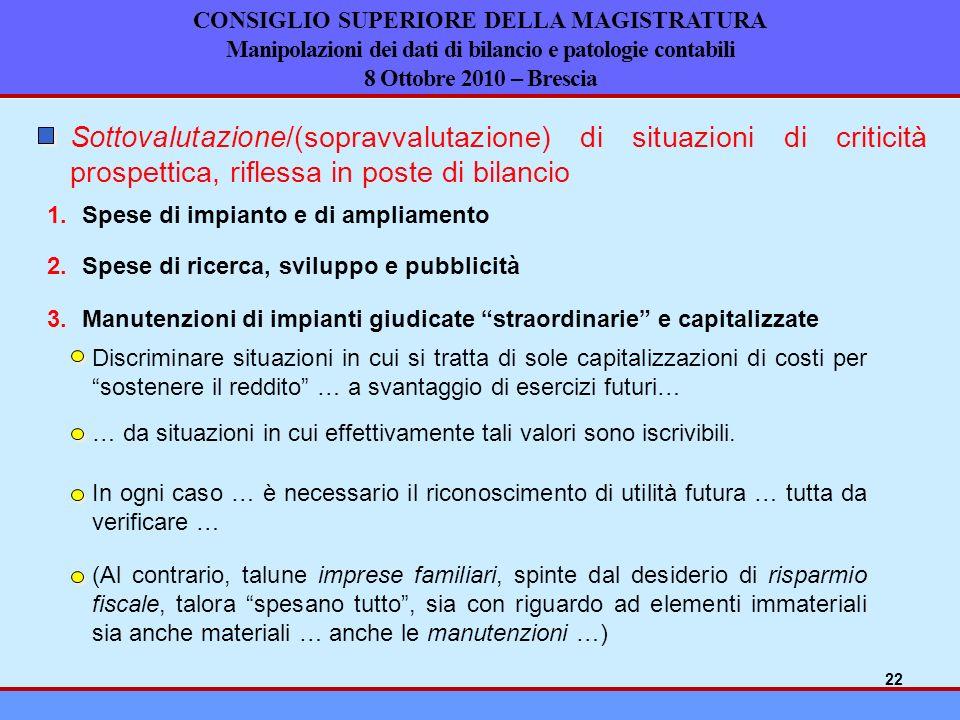 CONSIGLIO SUPERIORE DELLA MAGISTRATURA Manipolazioni dei dati di bilancio e patologie contabili 8 Ottobre 2010 – Brescia Sottovalutazione/(sopravvalut