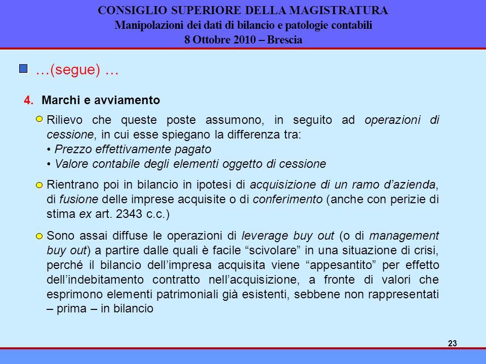 CONSIGLIO SUPERIORE DELLA MAGISTRATURA Manipolazioni dei dati di bilancio e patologie contabili 8 Ottobre 2010 – Brescia Marchi e avviamento4. …(segue