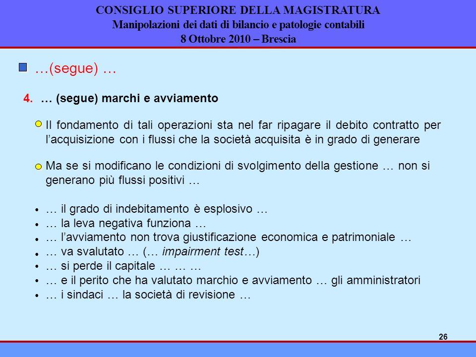 CONSIGLIO SUPERIORE DELLA MAGISTRATURA Manipolazioni dei dati di bilancio e patologie contabili 8 Ottobre 2010 – Brescia … (segue) marchi e avviamento