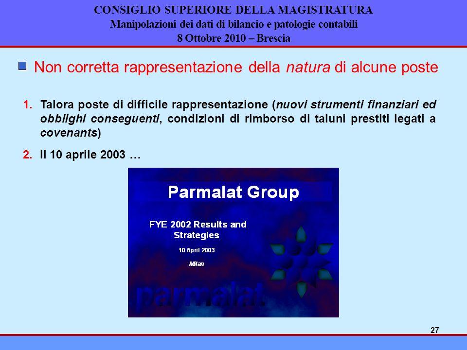 CONSIGLIO SUPERIORE DELLA MAGISTRATURA Manipolazioni dei dati di bilancio e patologie contabili 8 Ottobre 2010 – Brescia Non corretta rappresentazione