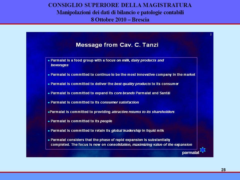CONSIGLIO SUPERIORE DELLA MAGISTRATURA Manipolazioni dei dati di bilancio e patologie contabili 8 Ottobre 2010 – Brescia 28