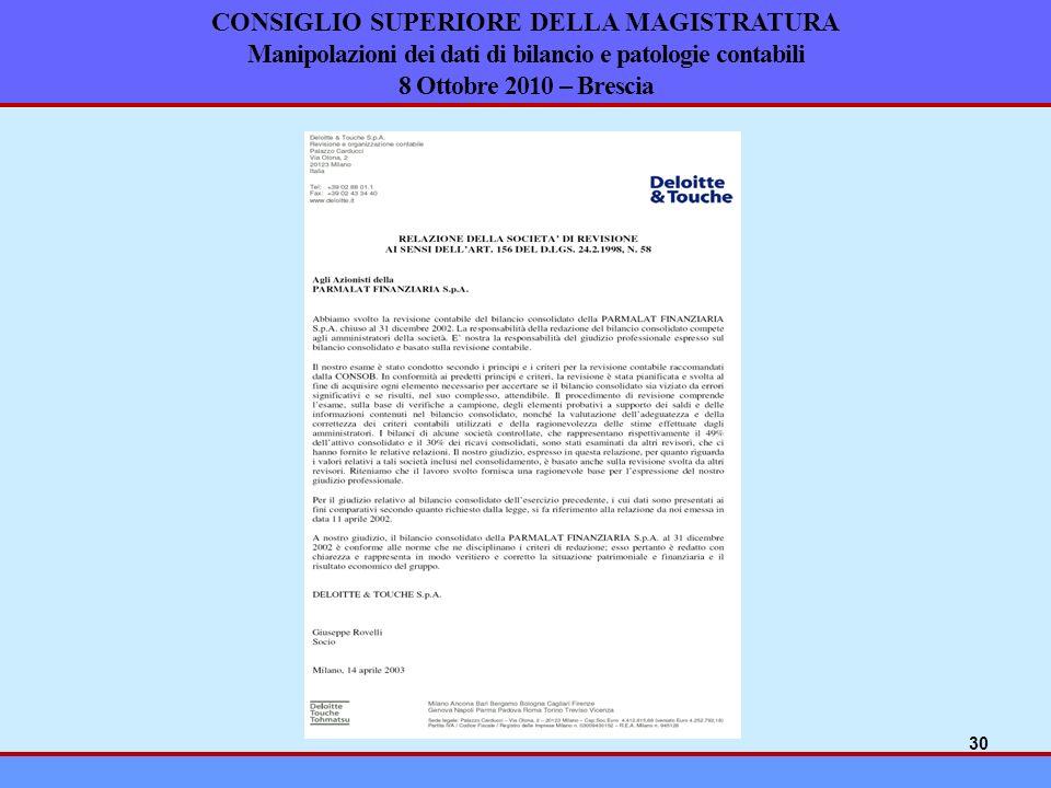 CONSIGLIO SUPERIORE DELLA MAGISTRATURA Manipolazioni dei dati di bilancio e patologie contabili 8 Ottobre 2010 – Brescia 30