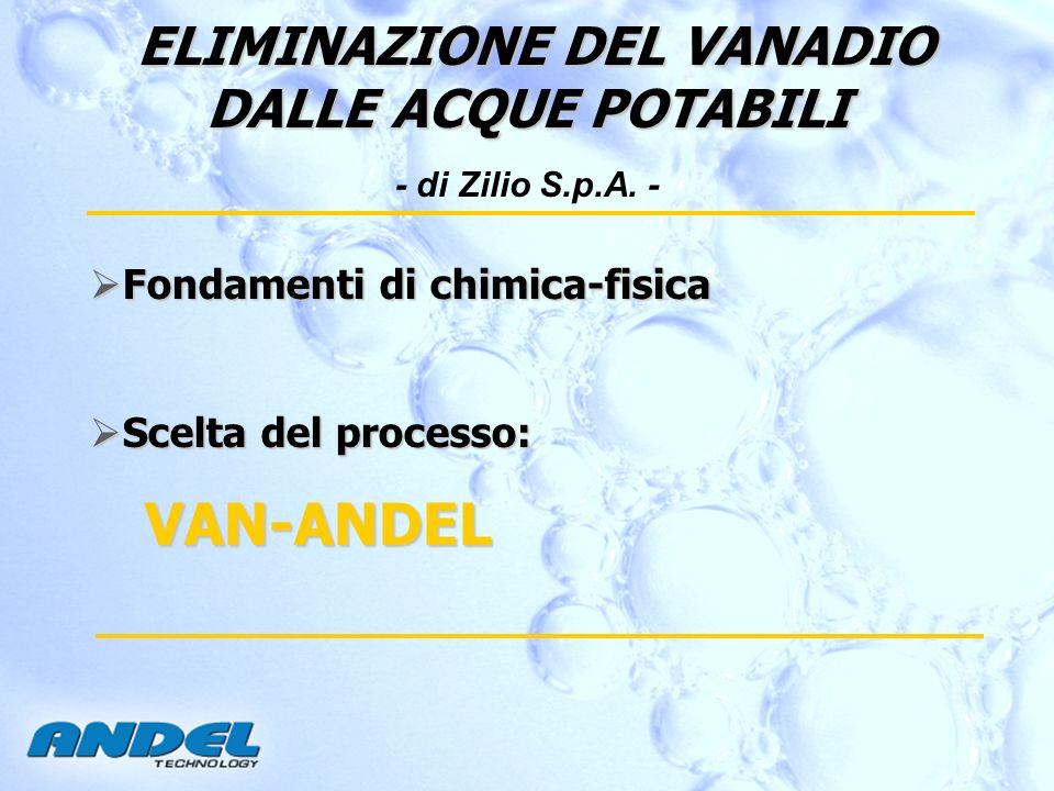 ELIMINAZIONE DEL VANADIO DALLE ACQUE POTABILI ELIMINAZIONE DEL VANADIO DALLE ACQUE POTABILI - di Zilio S.p.A. - Fondamenti di chimica-fisica Fondament