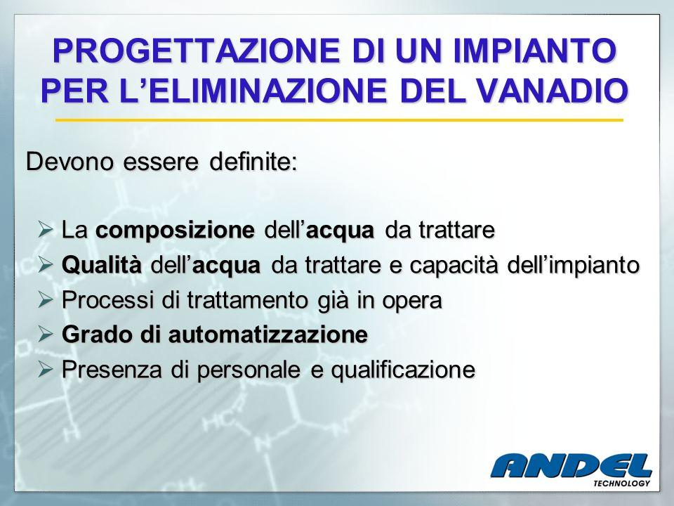 PROGETTAZIONE DI UN IMPIANTO PER LELIMINAZIONE DEL VANADIO La composizione dellacqua da trattare La composizione dellacqua da trattare Qualità dellacq