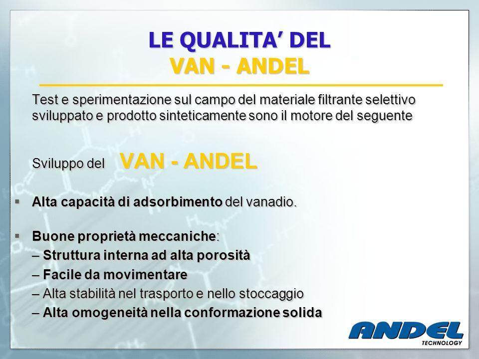LE QUALITA DEL VAN - ANDEL Test e sperimentazione sul campo del materiale filtrante selettivo sviluppato e prodotto sinteticamente sono il motore del