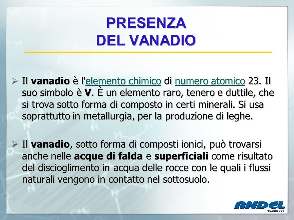 PRESENZA DEL VANADIO Il vanadio è l'elemento chimico di numero atomico 23. Il suo simbolo è V. È un elemento raro, tenero e duttile, che si trova sott