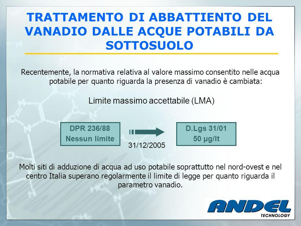 Recentemente, la normativa relativa al valore massimo consentito nelle acqua potabile per quanto riguarda la presenza di vanadio è cambiata: Limite ma