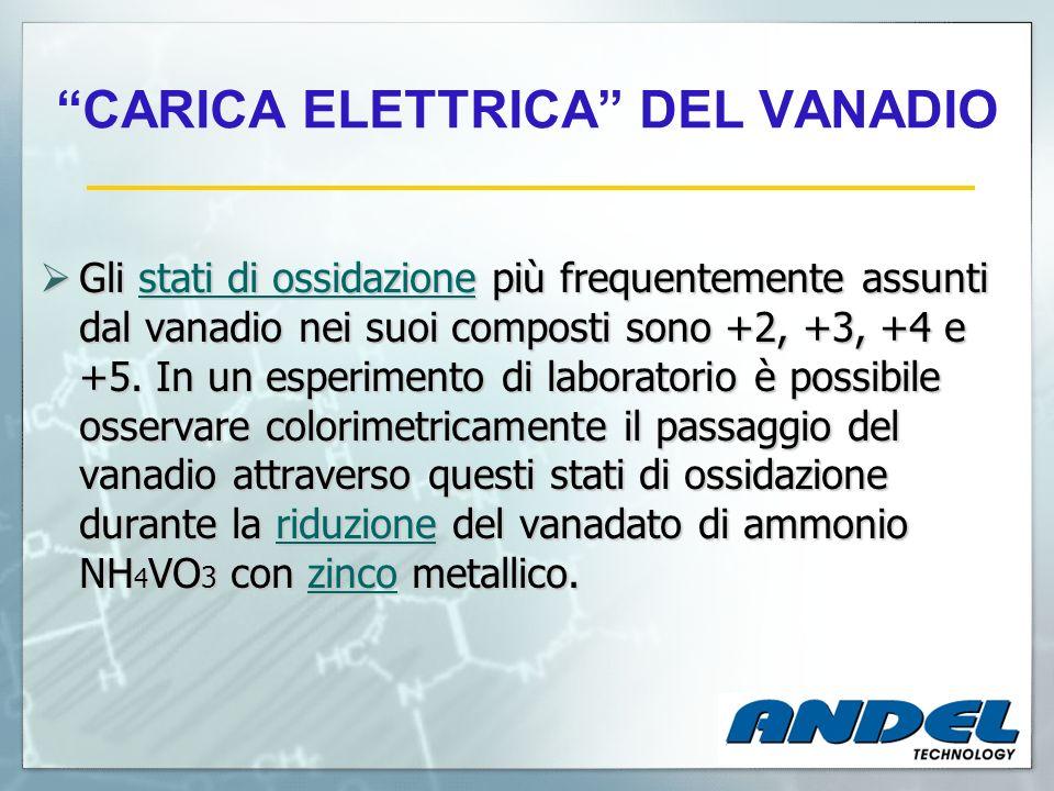 CARICA ELETTRICA DEL VANADIO Gli stati di ossidazione più frequentemente assunti dal vanadio nei suoi composti sono +2, +3, +4 e +5. In un esperimento