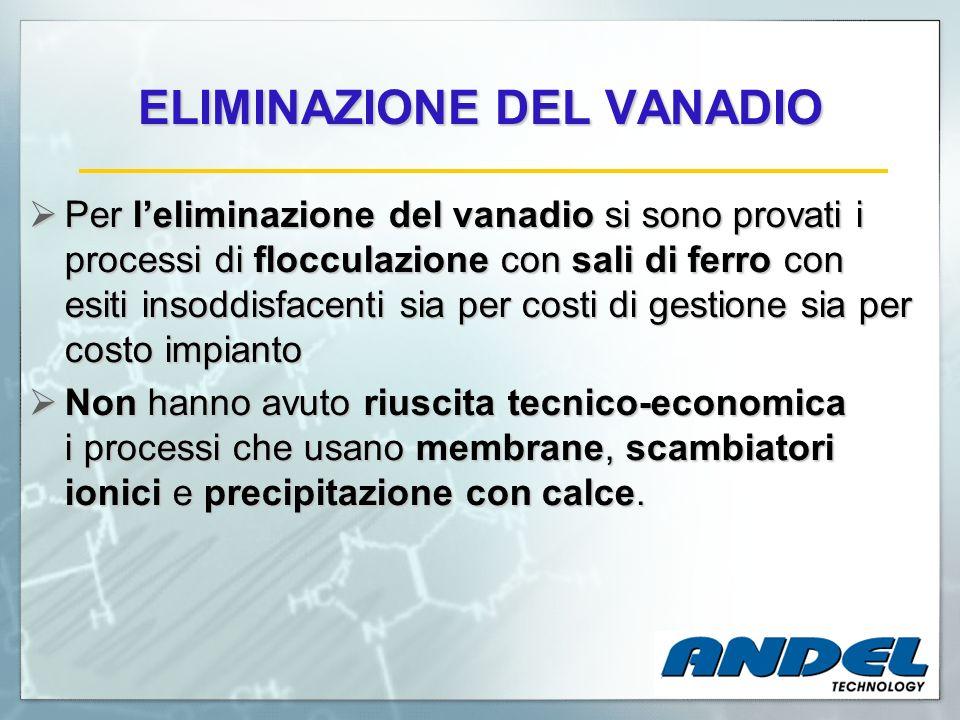 ELIMINAZIONE DEL VANADIO Per leliminazione del vanadio si sono provati i processi di flocculazione con sali di ferro con esiti insoddisfacenti sia per