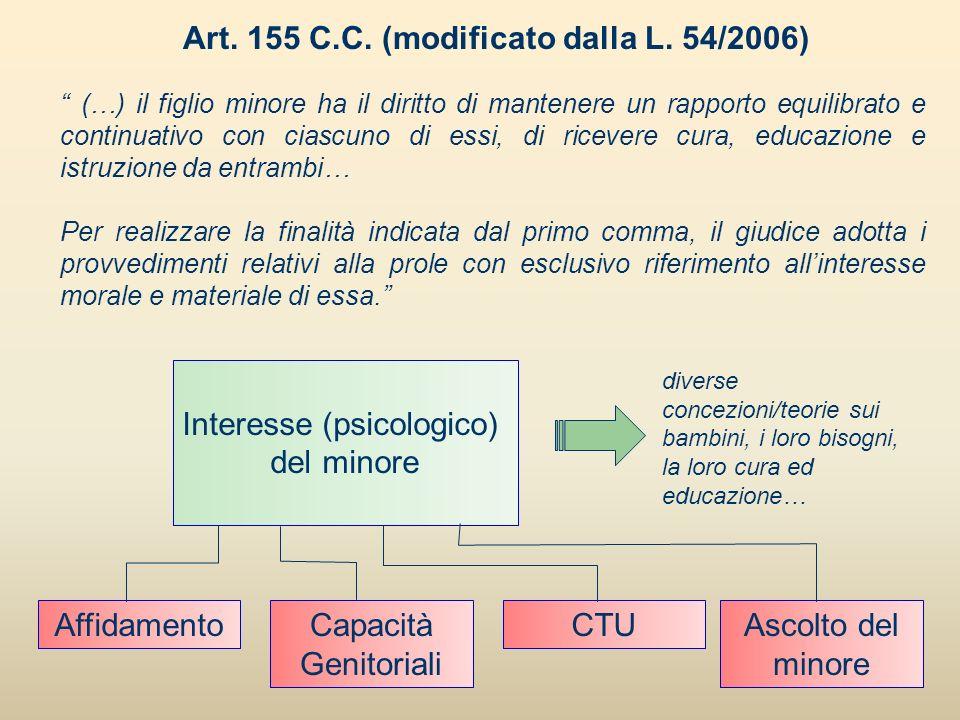 Art. 155 C.C. (modificato dalla L. 54/2006) (…) il figlio minore ha il diritto di mantenere un rapporto equilibrato e continuativo con ciascuno di ess