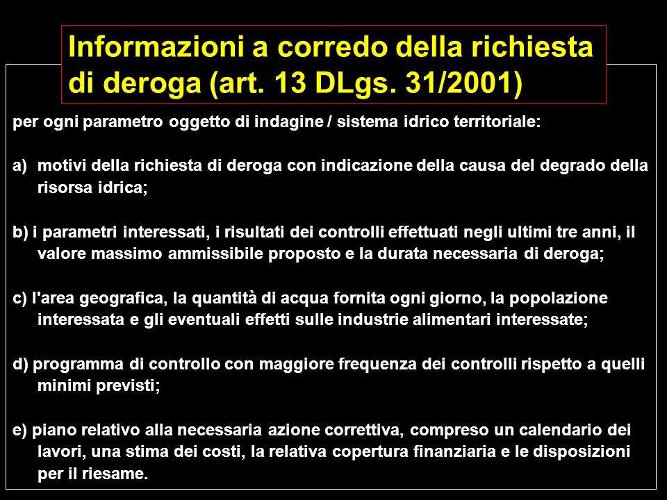 per ogni parametro oggetto di indagine / sistema idrico territoriale: a)motivi della richiesta di deroga con indicazione della causa del degrado della