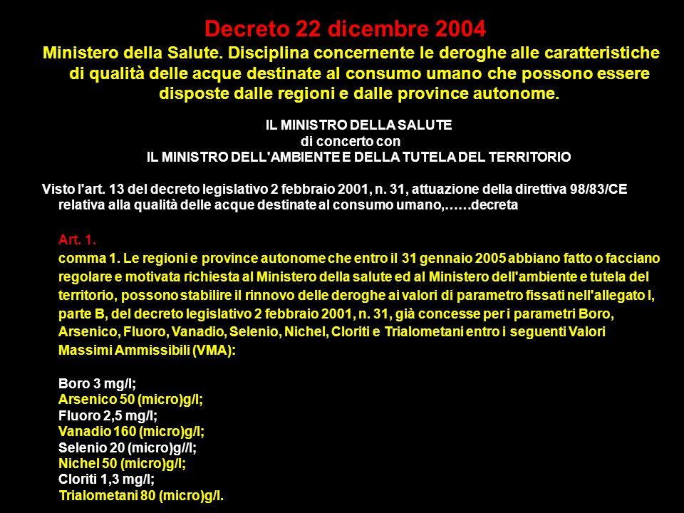 Decreto 22 dicembre 2004 Ministero della Salute. Disciplina concernente le deroghe alle caratteristiche di qualità delle acque destinate al consumo um