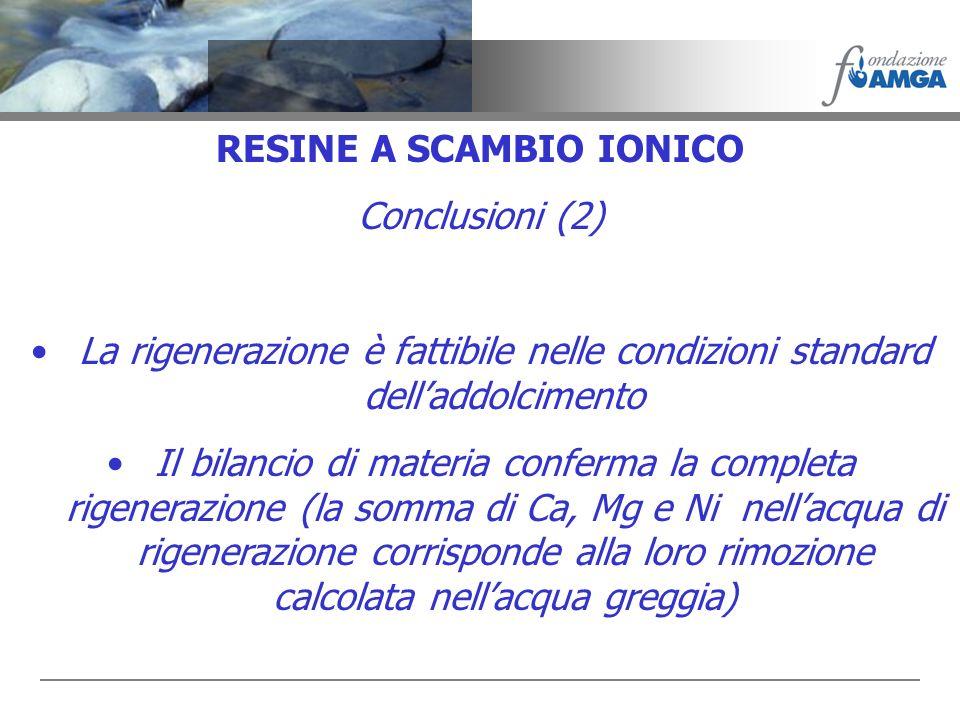 RESINE A SCAMBIO IONICO Conclusioni (2) La rigenerazione è fattibile nelle condizioni standard delladdolcimento Il bilancio di materia conferma la com