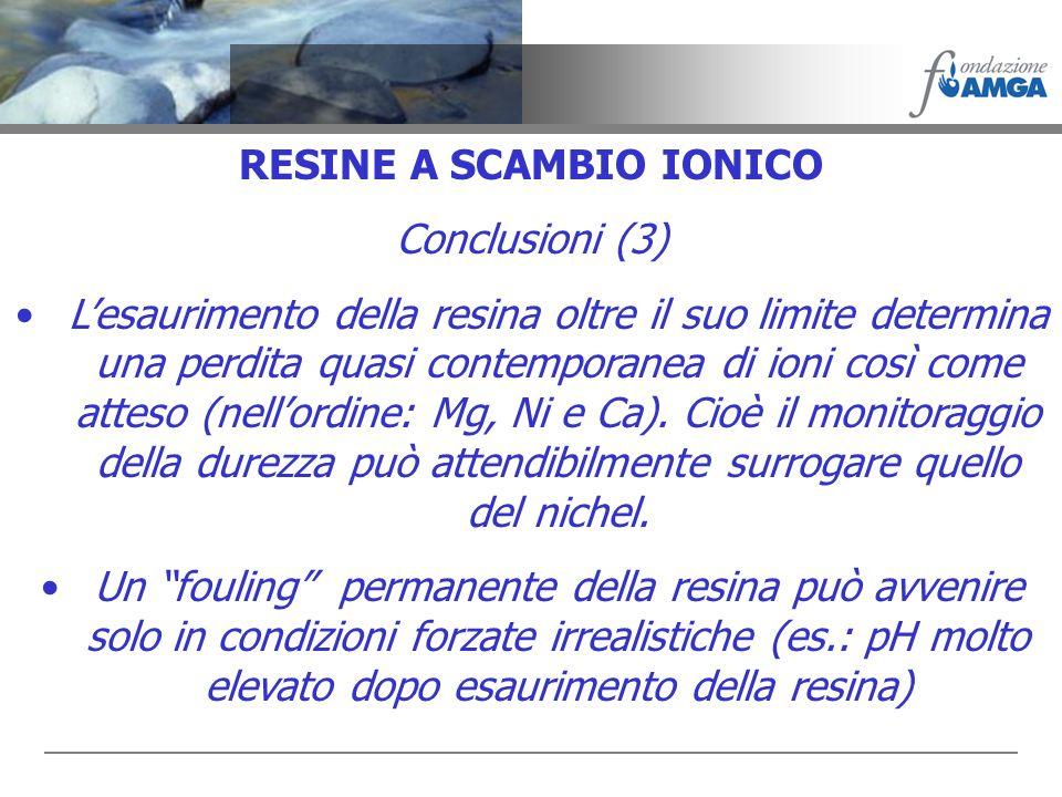 RESINE A SCAMBIO IONICO Conclusioni (3) Lesaurimento della resina oltre il suo limite determina una perdita quasi contemporanea di ioni così come atte