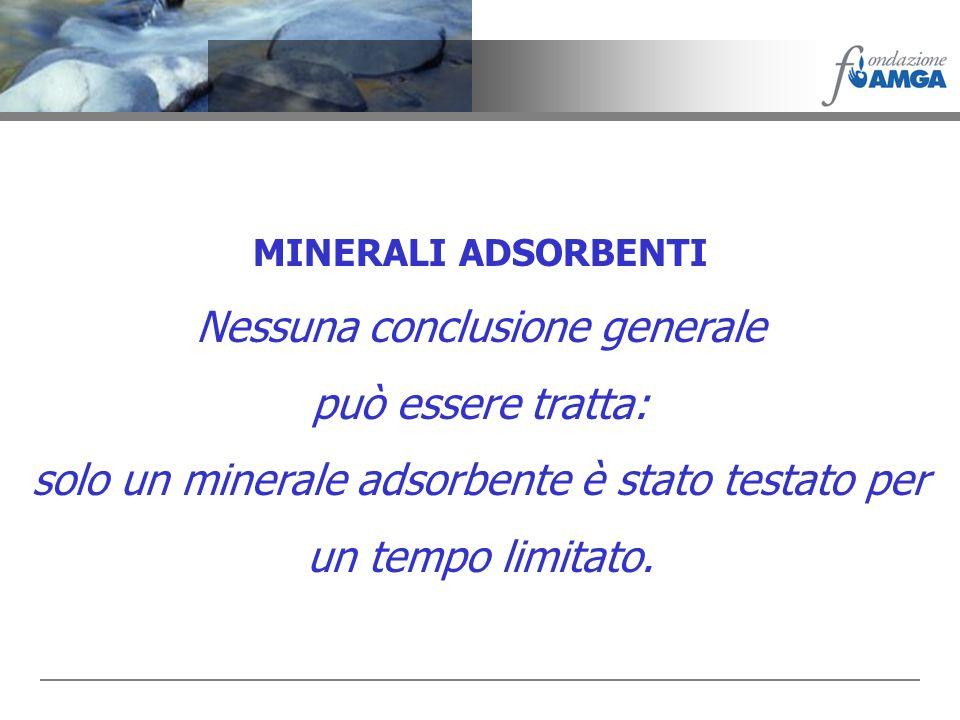 MINERALI ADSORBENTI Nessuna conclusione generale può essere tratta: solo un minerale adsorbente è stato testato per un tempo limitato.