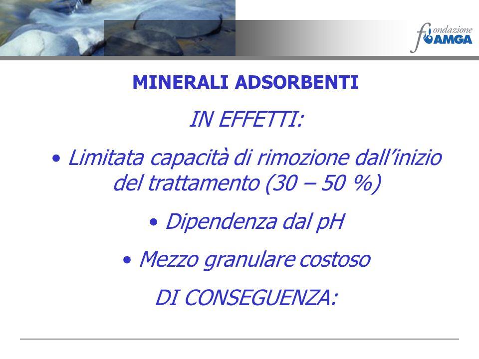 MINERALI ADSORBENTI IN EFFETTI: Limitata capacità di rimozione dallinizio del trattamento (30 – 50 %) Dipendenza dal pH Mezzo granulare costoso DI CON