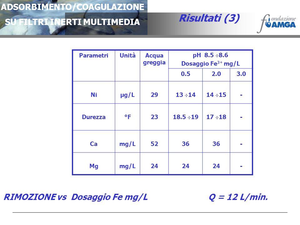 ADSORBIMENTO/COAGULAZIONE SU FILTRI INERTI MULTIMEDIA Risultati (3) ParametriUnitàAcqua greggia pH 8.5 8.6 Dosaggio Fe 3+ mg/L 0.52.03.0 Niµg/L29 13 1